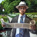 """""""Abelard in Jardin"""" (Gabriel), oil on linen, 24x18in - commission from artist's photo"""
