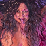 Manananggal (Amanda), 2021, oil on canvas, 24x40in diptych