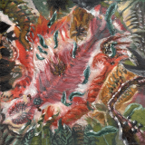 Cambrian Explosion (Paleozoic 3), 2020, oil on 6x6in canvas