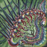 "Hallucigenia and friends (Paleozoic 2), 2020, oil on 5x5"" canvas."