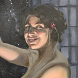 Portrait of the Artist as Grad Student. Oils on canvas, 28x60in