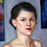 Self Portrait in Recession, oils on linen, 23x42in