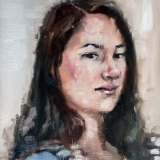 "Allison, oil on canvas, 12x16in. <a href=""http://bruesselbach.com/teleportraiture"">Teleportraiture</a>"