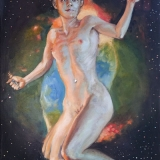 Erin, oil on canvas, 24inx48in, 2011. Saturn Nebula, and Capricorn