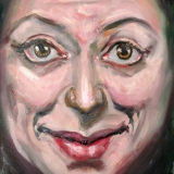 moneyface: This is the face of ineffective and desperate obsequiousness.  oil on canvas, 16x20