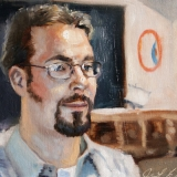"Casey, Oils on canvas, 16x12in.  The <a href=""http://bruesselbach.com/teleportraiture"">Teleportrait</a> with a teleporter"