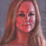 "Amy, <a href=""http://bruesselbach.com/teleportraiture/"">teleportrait</a>, 2012, oil on canvas, 9x10in"