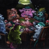 Fluffies Playing Poker, commission, oil on velvet, 8x10in.