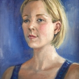 "Katie, 2016, <a href=""http://bruesselbach.com/teleportraiture"">teleportrait</a>, oil on canvas, 9x12in"