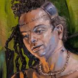 Gestalt/Frankenstein's Monster (Ashanti), 2019, oil on canvas, 32x48in