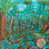 "Lignin (Paleozoic 7), July 2020, oil on canvas, 8x8in. <a href=""http://bruesselbach.com/?page_id=1342"">Paleofacture</a>"
