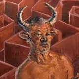 """Minotaur (Reginald), December 2020, oil on canvas, 24x36in. <a href=""""http://bruesselbach.com/?page_id=1244"""">Beloved Monsters</a>"""