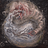 "Proterozoic - 2nd eon of <a href=""http://bruesselbach.com/?page_id=1342"">Paleofacture</a>. 3x3in oil paintings"