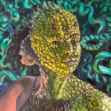 "Reptilian (self portrait), oil on canvas, 21x30in. <a href=""http://bruesselbach.com/projects/belovedmonsters/"">Beloved Monsters, </a><a href=""http://bruesselbach.com/projects/self-portraits/"">Self Portraits</a>"